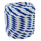 Blue White Poly Polypropylene Pool Rope 3 Strand Twist 1 4 3 8 1 2 3 4 100 600