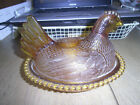 INDIANA GLASS HEN ON NEST GOLDEN AMBER CHICKEN HEN CANDY DISH BOWL WITH LID