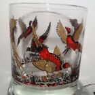 Vintage ring necked Pheasant glasses set 6 Thick Heavy whiskey drinking glasses