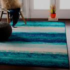 Tropical Coastal Aqua Teal Blue Ocean Stripe Area Rug FREE SHIPPING