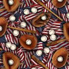 Sports Patriotic American Baseball Gloves and Flags Cotton Fabric Fat Quarter