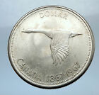 1967 CANADA CANADIAN Confederation Founding Silver Dollar Coin w GOOSE i70758