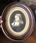 Antique Victorian Deep Walnut Oval Picture Frame w/ Print of Girl (11X13)