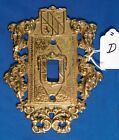 Vintage Brass Ornamental Switch Plate Cover; Virginia Metalcrafters VM24-17 (D)