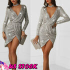 Ladies Sparkling Bodycon Long Sleeve Evening Party Cocktail Club Ball Mini Dress
