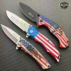 3PC M Tech USA American Flag Spring Open Assisted Folding Pocket Knife Set NEW
