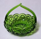 STAR~ Green FLAT Split-Handle BASKET Gorgeous Older Glassware