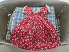Old Vintage Primitive Red and White Calico Fabric Rag Doll Dress American AAFA