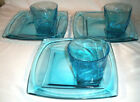 Hazel Atlas Glass: CAPRI VANITY: Blue: 3 Snack Sets: Cups, Plates: EXC: NR
