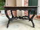 Antique French Black Forest Carved Wood Faux Bois TABLE Tree Lodge  Dining Sofa