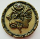 Wonderful LARGE Antique~ Vtg Metal BUTTON Celluloid Back Flower w/ Cut Steel (M)