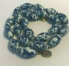 VINTAGE BLUE AND WHITE PORCELAIN CHINESE BEADS NECKLACE