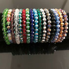 Nice Handmade Womens 8mm Colorful Faceted Crystal Beads Stretch Bracelet Bangle