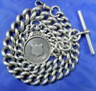 (J) ANTIQUE CHUNK SILVER WATCH CHAIN ALBERT CHAIN WITH FOB MEDAL