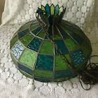 Mid Century Stained Glass Brass Chain Links Hanging Lamp Shade Vintage