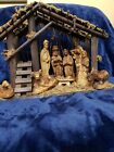 11 Piece Wooden Hand Carved Nativity set very rare