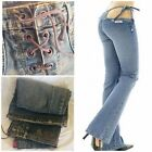 SEXY Low Rise Skinny Woman Jeans Washed Tinted Colors Cross Rope Vintage
