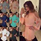 Women's Chiffon Dress Mini Off-the-shoulder Strap Long Sleeve Casual Solid Color