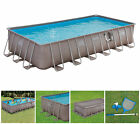 Summer Waves 24 x 12 x 52 Above Ground Rectangle Frame Pool Set Brown Wicker