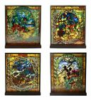 Louis Comfort Tiffany Four Seasons Set Mosaic Stained Glass Art With Base Decor