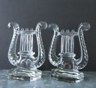 *LYRE* (HARP) GLASS BOOKENDS, Mid-Century, Clear Lead Crystal Glass, *Very Good*