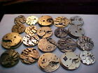 lot of 20 key wind pocket watch movements for parts