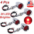 4x Motorcycle 20 LED 3 Wires Turn Signal Blinker Brake Lights Chrome Bullet USA