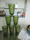 Lot Of Six Vintage Footed Indiana Whitehall Colony Green Tea Glasses 6