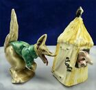 VINTAGE WOLF AND PIG IN STRAW HUT POTTERY SALT AND PEPPER  920