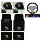 7pc NCAA LSU Tigers Car Truck Floor Mats Steering Wheel Cover Headrest Cover