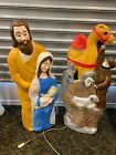 Lot Of 2x Union Blow Mold Nativity Jesus Mary Jospeh Camel Donkey Shepard 41