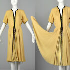Large 1970s Bonwit Teller Galanos Silk Chiffon Dress Yellow VTG Designer Gown