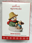 2017 HALLMARK CHRISTMAS ORNAMENT SNOW BUDDIES SNOWMAN & PIG NEW NIB