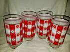 4 HUGE Vtg Federal COUNTRY KITCHEN Red Check Gingham 22 Oz Drink GLASS TUMBLER