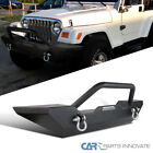 87 06 Jeep Wrangler YJ TJ Textured Metal Front Bumper Guard D Ring+Winch Mount