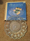 Vintage Indiana Glass Deviled Egg / Relish Tray Plate w/box - Clear - 11