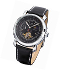 KS Men's Automatic Mechanical Tourbillon Wrist Watch Genuine Leather Strap Black