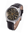 KS Men's Mechanical Automatic Wrist Watch with Analogue Date Display Black Leath
