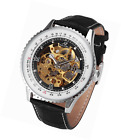 KS Men's Skeleton Mechanical Automatic Wrist Watch with Big Face Black Leather S