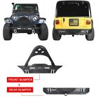 Textured Black Front+Rear Bumper w/Winch Plate for Jeep Wrangler TJ YJ 1987-2006