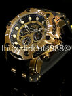 Invicta Men Bolt Chronograph 18Kt Gold Plated Black Dial Strap 51mm Trendy Watch