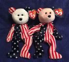 Ty Beanie Baby Red & White Face Spangle the Bear - 2 pcs - Free Shipping