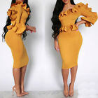Ladies Vintage Ruffles One-Shoulder Pencil Midi Dresses Bodycon Party Plus Size