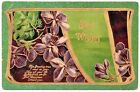 Violets with Bold Accent  Banner Best Wishes Vintage Postcard