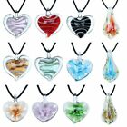 Women Heart Flower Lampwork Murano Glass Pendant Necklace Charm Jewelry Gift Hot