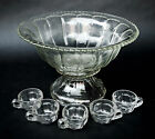 Indiana Glass Colonial Panel Scalloped Rim Punch Bowl w/ Stand + 5 Cups