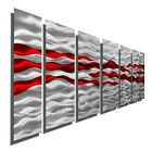 Red and Silver Metal Wall Art Flame Inspired Modern Contemporary Decor WOW