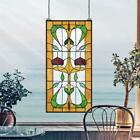 Design Toscano Ruskin Rose Two Flower Tiffany Style Stained Glass Window