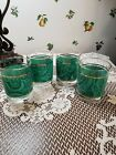 VINTAGE Boating Gold Rim with Bands Sea Green Waves Glass Tumbler (Set of Four)