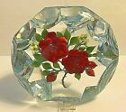 TRABUCCO 1994 Red Roses White Flowers Art Glass Faceted Paperweight